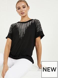 quiz-polyester-diamante-round-neck-short-sleeve-boxy-top-black