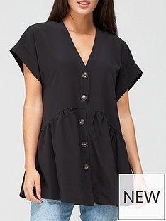 v-by-very-short-sleeve-longline-button-through-tunic-black