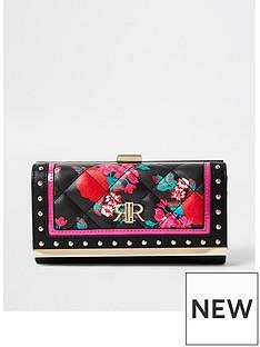 river-island-floral-cliptop-purse-black