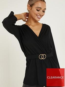 quiz-woven-three-quarter-sleeve-buckle-top-black