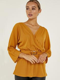 quiz-mustard-woven-three-quarternbspsleeve-buckle-top-mustard