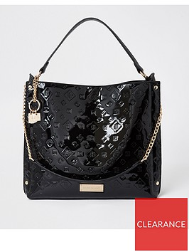 river-island-embossed-patent-slouch-bag-black
