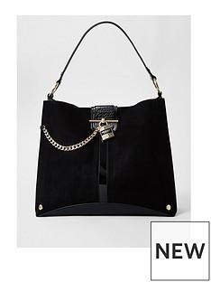 river-island-padlock-front-slouch-bag-black