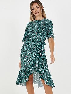 quiz-crepe-leopard-print-shortnbspsleeve-frill-midi-dress-teal