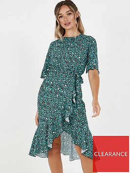 quiz-crepe-leopard-print-shortnbspsleeve-frill-midi-dress-teal
