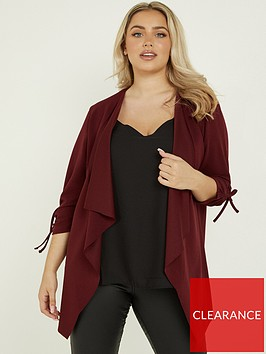quiz-curve-scuba-crepe-waterfallnbspruched-sleeve-detail-blazer-berry