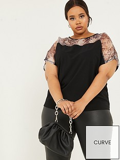 quiz-curve-snake-organza-yoke-boxy-top-black