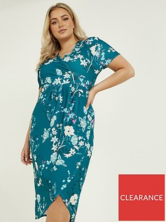 quiz-curve-floral-wrap-midi-dress-teal