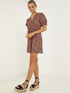 quiz-crepe-leopard-puff-sleeve-tie-belt-skater-dress-red