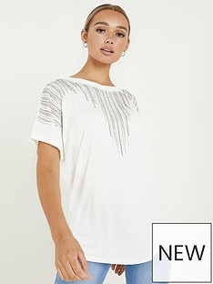 quiz-polyester-diamante-round-neck-short-sleeve-boxy-top-white