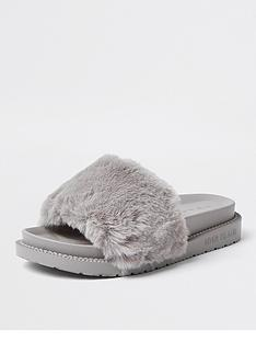 river-island-faux-fur-slider-slipper-grey