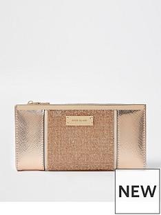 river-island-heatseal-metal-top-purse-rose-gold