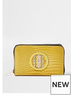 river-island-branded-ziparound-purse-yellow