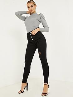 quiz-denim-stretch-high-waist-button-detail-jean-black
