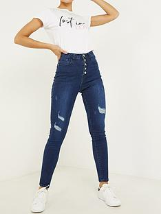 quiz-denim-stretch-high-waist-button-detail-jean-dark-blue