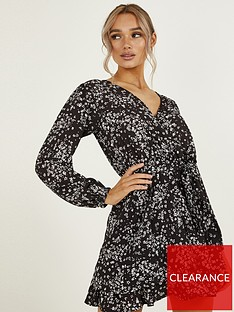 quiz-ditsy-long-sleeve-wrap-skater-dress-blackwhite