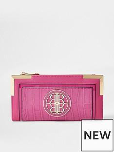 river-island-faux-croc-metal-corner-purse-pink