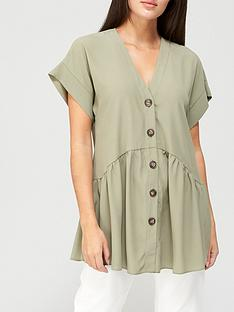 v-by-very-short-sleevenbsplongline-button-through-tunic-khakinbsp