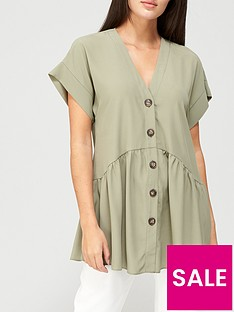 v-by-very-short-sleevenbsplongline-button-through-tunic-khakinbsp