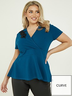 quiz-curve-teal-trim-wrap-peplum-top-teal