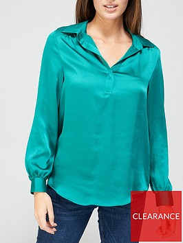 v-by-very-shirred-shoulder-notch-neck-blouse-green