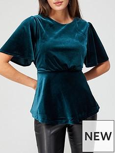 v-by-very-velvet-angel-sleeve-blouse-greennbsp