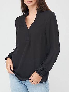 v-by-very-frill-notch-necknbspblouse-black