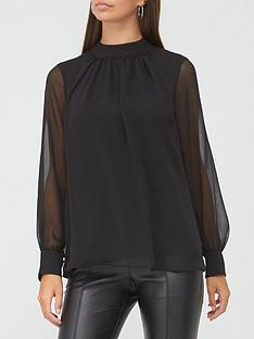 v-by-very-high-neck-georgette-blouse-black