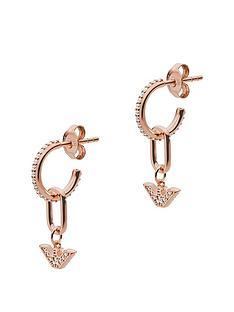 emporio-armani-rose-tone-logo-drop-earrings