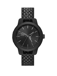 puma-reset-black-dial-black-woven-knit-watch