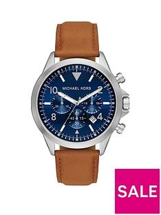 michael-kors-blue-chronograph-tan-watch