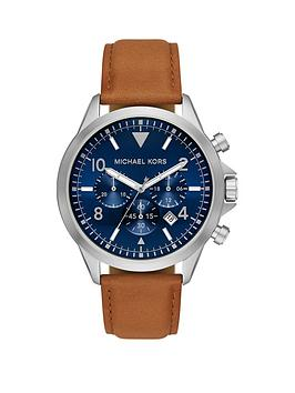 michael-kors-blue-chronograph-tan-watch