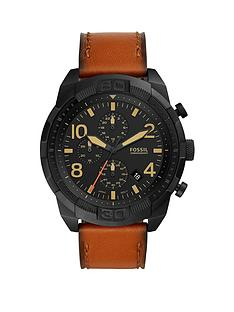 fossil-bronson-black-multi-dial-tan-strap-watch