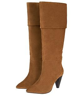 Monsoon Suede Long Slouch Boots - Tan