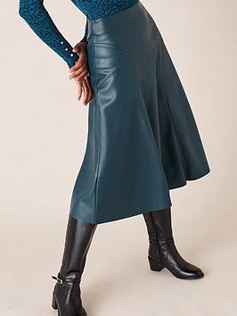 monsoon-monsoon-recycled-pu-midi-skirt-teal