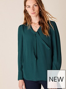 monsoon-tie-front-long-sleeve-sustainable-top-green