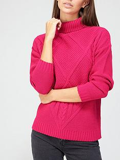 v-by-very-turtle-neck-cable-front-jumper-pink