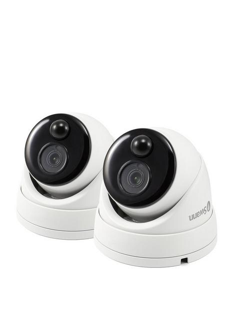 swann-smart-security-4k-thermal-sensor-outdoor-dome-add-on-analogue-cctv-camera-with-ir-night-vision-amp-pir-motion-detection-twin-pack-swpro-4kdomepk2-eu