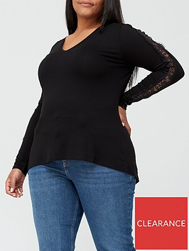 v-by-very-curve-lace-sleeve-swing-top-black