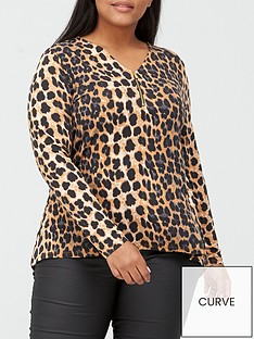 v-by-very-curve-zip-front-top-animal-print