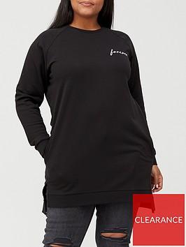 v-by-very-curve-longline-split-hem-slogan-sweat-black