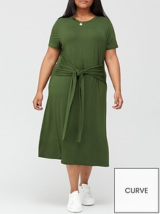 v-by-very-curve-tie-front-jersey-midi-dress-khaki