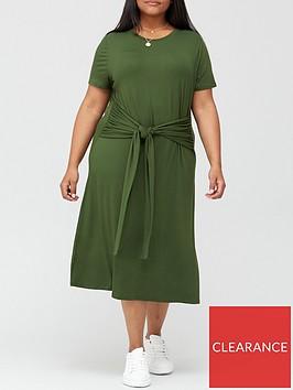 v-by-very-curve-tie-front-jersey-midi-dress-khaki