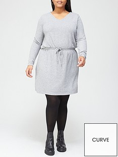 v-by-very-curve-long-sleeve-jersey-tie-waist-dress-grey