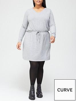 v-by-very-curve-long-sleeve-jersey-tie-waist-dress-grey