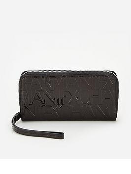 armani-exchange-wristlet-zip-around-purse-black