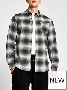 river-island-shadow-check-long-sleeve-shirt-grey
