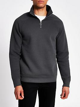 river-island-logo-half-zip-sweat-top-dark-grey