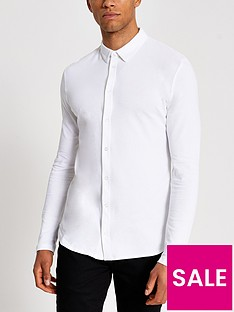 river-island-pique-long-sleeve-jersey-shirt-white