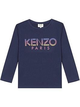 kenzo-girls-long-sleeve-logo-t-shirt-navy